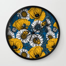 The meadow in yellow and blue Wall Clock
