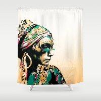 gypsy Shower Curtains featuring Gypsy by Mo Baretta