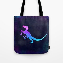 VELOCIRAPTOR IN SPACE // Dinosaur Graphic Art // Watercolor Canvas Painting // Modern Minimal Cute Tote Bag
