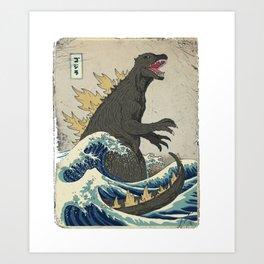 The Great Godzilla off Kanagawa Art Print