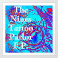 Design by Steph Darling at The Nines Tattoo and Art Parlor Be Bright Blue Rose  Art Print
