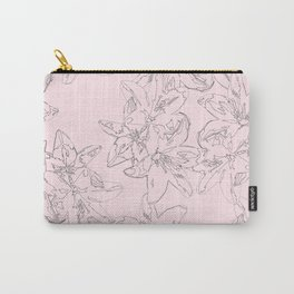 pink line art floral pattern Carry-All Pouch
