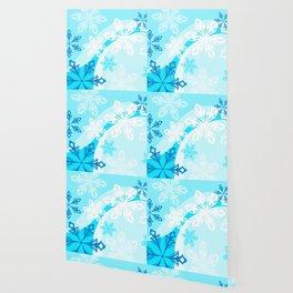 Blue Flower Art Winter Holiday Wallpaper