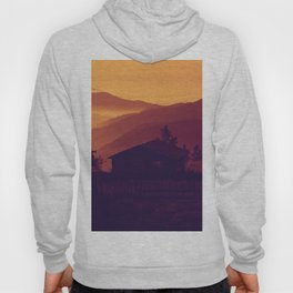 Monochrome Ombre Sunset Purple Orange Hues Cabin House by the Ocean Cliffs Hoody