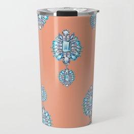 Jewelbox: Aquamarine Brooch on Coral Spice Travel Mug