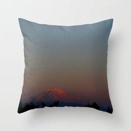 Mount Rainier Moon Rise Throw Pillow