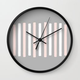 Simple Pink and White Stripes Wall Clock