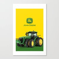 john green Canvas Prints featuring John Deere Green Tractor by rumahcreative