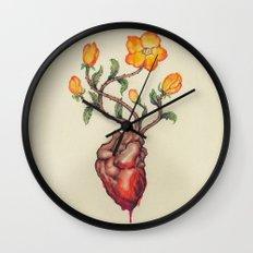 THIS BLEEDING BLOSSOMING HEART: ORANGE WILD ROSE Wall Clock