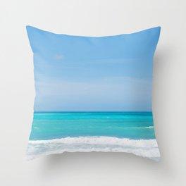 Beautiful azure sea and waves, Tyrrhenian sea in Tuscany, Italy Throw Pillow