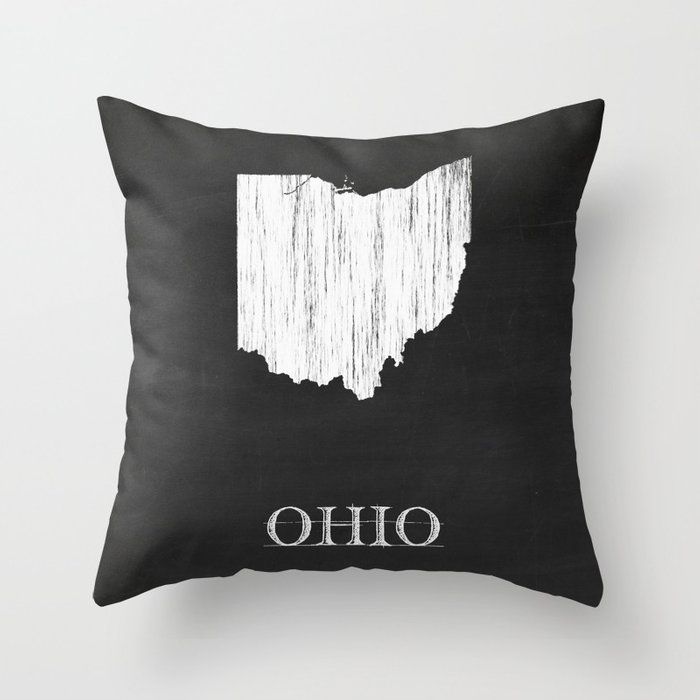 Ohio State Map Chalk Drawing Throw Pillow