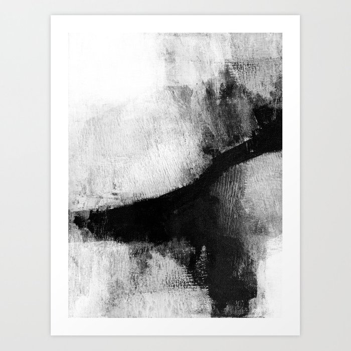 Black And White Textured Abstract Painting Delve 2 Art Print By Mininst