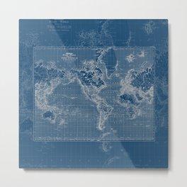 Dark Blue World Map Metal Print