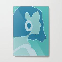 Blue portrait silhouette Metal Print