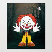 pennywise Canvas Prints featuring Lil Horror Classics Featuring Pennywise from It by Lopez