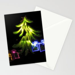 Christmas Lights a tree and presents light painting photograph Stationery Cards