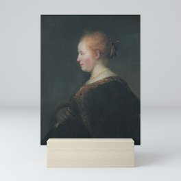 A Young Woman in Profile, with a Fan Mini Art Print
