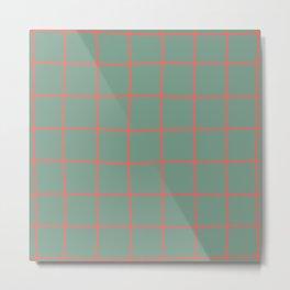 Simple Grid Coral Green Metal Print