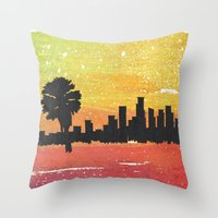 dodgers Throw Pillows featuring Sunset Blvd. by Nicko-Suave