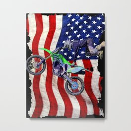 High Flying Freestyle Motocross Rider & US Flag Metal Print