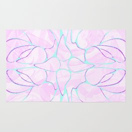 Abstract Mint Pink Flower Pattern Rug