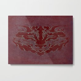 Tribal Wolf Red Metal Print