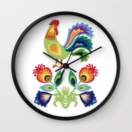 Polish Rooster and flowers Wall Clock