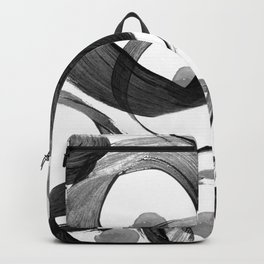 Modern abstract black white hand painted brushstrokes Backpack