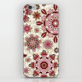Floral pattern with stylized snowflakes. Christmas winter snow theme pattern. iPhone Skin