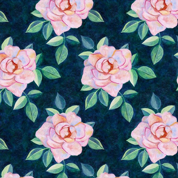 Simple Pink Rose Oil Painting Pattern Leggings