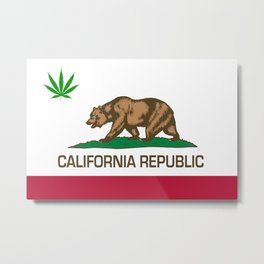 California Republic state flag with green Cannabis leaf Metal Print
