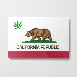 California Republic state flag with green Cannabis leaf Metal Print
