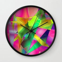 Green Shards on Hot Pink Wall Clock
