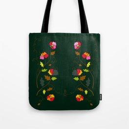 Bright Floral Climbing Vine on Dark Green Tote Bag