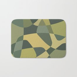 Mid Century Modern Abstract Rock Layers Green Bath Mat