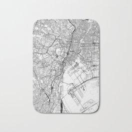 Tokyo White Map Bath Mat