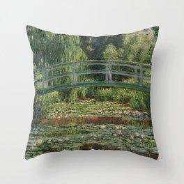 Claude Monet - Japanese Footbridge Throw Pillow