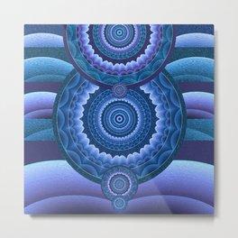 Indigo Depth Meditation Tibetan Inspired Mandala Metal Print