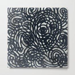 Evil Eye black charcoal abstract lines_digital painting Metal Print