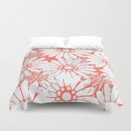 Summer Flowers Living Coral Duvet Cover
