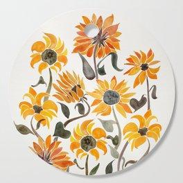Sunflower Watercolor – Yellow & Black Palette Cutting Board