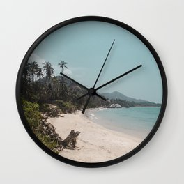 Beautiful white sands of the paradise beach in Parque Tayrona on the Caribbean coast of Colombia Wall Clock