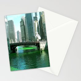 Chicago River on St. Patrick's Day #Chicago Stationery Cards