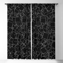 Cubic B&W inverted / Lineart texture of 3D cubes Blackout Curtain