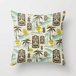 Island Tiki - Tan Throw Pillow