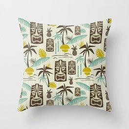 Island Tiki - Tan Throw Pillow