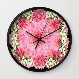 ORNATE PINK FLOWER COLLAGE WITH BLACK Wall Clock