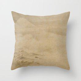 Japanese Edo Period Landscape Scroll of Mount Fuji - Kano Tanyu Throw Pillow