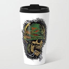 zombie with military helmet. Travel Mug
