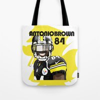 steelers Tote Bags featuring Antonio Brown  by MikeHanz